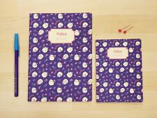 MOLANG cute Pattern Memo Notebook Note book Notepad 2 Size SET - Navy Flower