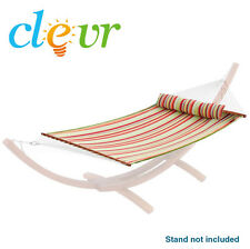 NEW Quilted Hammock Double Wide Rainbow Solid Wood Spreaders 2 Person 450lbs