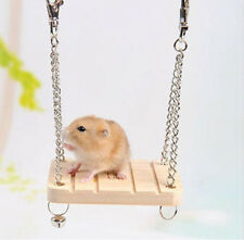 Wooden Hamster Toy Swing Rat Bird Mouse Exercise Cage Hanging Bell Pet Play Toys