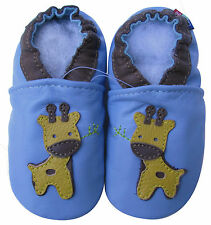carozoo little giraffe light blue 5-6y soft sole leather kids shoes