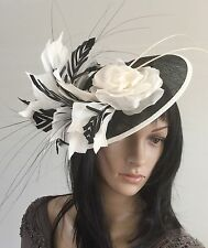NEW NIGEL RAYMENT BLACK IVORY ASCOT FASCINATOR WEDDING MOTHER OF THE BRIDE HAT