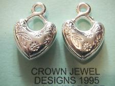 6 Plata Tibetana 3D corazón encantos perlas retro artesanías hallazgos Pines romántico Ganchos