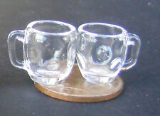1:12 Scale 2 Dimpled Pint Mugs Dolls House Miniature Pub Glass Accessory GLA45