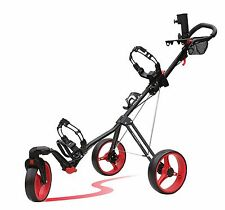 Caddytek SuperLite Deluxe 3 Wheel Golf Push Cart with Swivel Front Wheel, RED