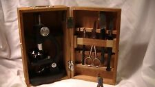 Microscope, 100x, 200x, 300x by Cragstan, w. original wood case & various tools