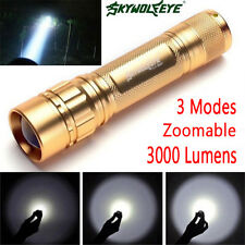 Tactical 3000Lm CREE XML Q5 LED Flashlight Torch 18650 Focus Lamp Zoom light UK