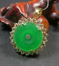 Gold Plate CHINESE Green JADE Pendant Circle Donut Necklace 273783
