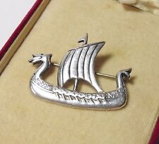 OLA GORIE STERLING SILVER BROOCH SCOTTISH JEWELLERY VIKING LONGSHIP BOAT