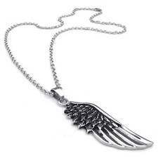 Mens Black Silver Angel Wing 316L Stainless Steel Pendant Chain Necklace 20""
