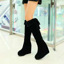 Womens Winter Knee High Boots Riding Pull On Wedge Heel Platform Shoes All UK Sz