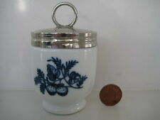 ROYAL WORCESTER BOXED EGG CODDLER HANBURY BLUE AND WHITE BUTTERFLY STRAWBERRY