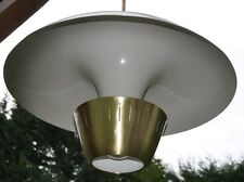 "Pair Vintage Very Large 27"" Cinema Pendant Lights Lamps Brass & Aluminum"