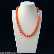 100% Genuine Beautiful 10MM Coral Pink Sea Shell Pearl Necklace 18'' AAA