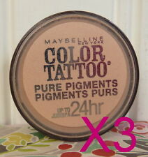 LOT OF 3 MAYBELLINE 24 HR COLOR TATTOO PURE PIGMENTS - BARELY BRAZEN EYE SHADOW