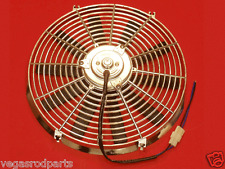 """Chrome 12 """" inch HIGH PERFORMANCE ELECTRIC RADIATOR COOLING FAN FLAT BLADE"""