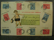 cpa fantaisie le language des timbres philatelie
