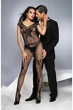 Black Cap Sleeve Scoop Neck Butterfly Fishnet Body Stocking Sexy Lingerie P1035