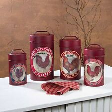 New Country Farmhouse RED ROOSTER CANISTER SET Kitchen Flour Sugar Coffee Tea