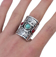 New Fashion Alloy Tibetan Vintage Silver Plated Turquoise Rings Adjustable Ring