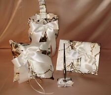 WHITE SNOW TRU TIMBER  CAMO  FLOWER GIRL BASKET,RING PILLOW,GUEST BOOK & PEN