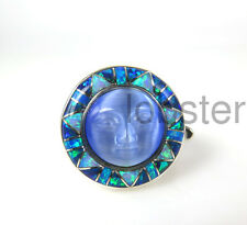 BEAUTIFUL SAJEN GODDESS RING Sterling Silver Inlaid Opal Fiber Optic Blue Size 9