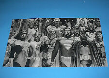 DC COMICS BLACK AND WHITE JUSTICE LEAGUE HEROES POSTER PIN UP ALEX ROSS