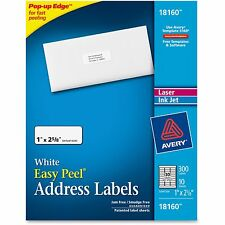 "Avery Mailing Labels Laser/Inkjet 1/2""x2-5/8"" 300 Labels/PK WE 18160"