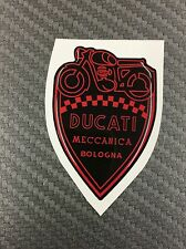1 Stickers Scudetto DUCATI Meccanica Vintage Black & Red 3D resinato 50 mm