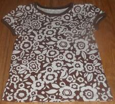 TODDLER GIRLS ON OLD NAVY BROWN & WHITE FLORAL FLOWER S/S SHIRT TOP~SZ 18-24M~EC