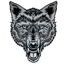 HUGE LONE WOLF HEAD TATTOO REFLECTIVE EMBROIDERED PATCH BIKER JACKET RIDER VEST