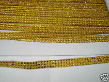 3mtr 2strip GOLD iron-on hotfix reel diamonte crystal