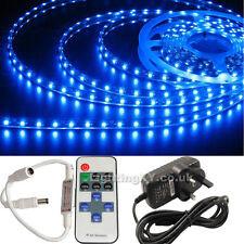 FULL KIT BLUE 5M SMD LED Strip Light +Power Adaptor +FREE REMOTE Flasher Dimmer