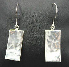 Sterling Silver Slightly Bowed Hammered Style Rectangle Earrings