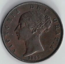 GB - UK 1853 Victoria 1/2d Halfpenny Extra Fine uncleaned