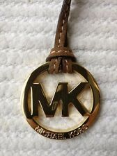 """New Michael Kors 2"""" GOLD MK LOGO Purse Bag Charm KEY FOB Tag Suede Brown Leather"""