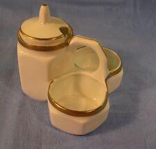 Menage Porzellan, Tischgewürzständer mit Goldstaffage, Senf, Salz, Pfeffer