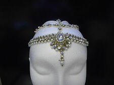 GOLD MATHA PATTI HAIR CHAIN HEADPIECE HEAD JEWELLERY DIAMANTE  TIKKA -S44