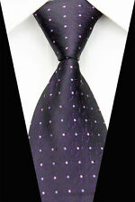 Dark Purple 100% Pure Silk Men's Neck Tie with Small Pink and Purple Dots