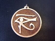 "Eye Of Horus Laser carved Maple wood Medallion pendant 1.75"" Necklace USA #gift"