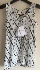 BALENCIAGA T'S WHITE COTTON PRINTED TANK TOP SIZE 38 UK 8 100% AUTH RRP £160