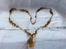 "Amber Glass And Gold Tone 26"" Necklace"