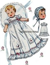 Vintage 1950s Baby Sewing Pattern Dress Bonnet & Bootee Shoes Christening S-XL