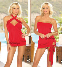RED MINI DRESS Microfiber Convertible HALTER Strapless TIE HEM THONG Clubwear OS