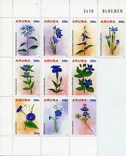 Aruba 2015 MNH Blue Flowers 10v Block Set Flora Bloemen