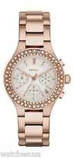 DKNY Womens White Dial Gold Stainless Steel Bracelet Chronograph Watch NY-2261