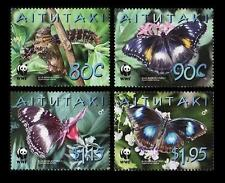Aitutaki MNH 4v, WWF, Butterflies, Insects