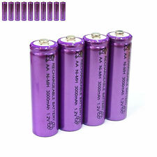 10 pcs AA LR06 3000mAh 1.2V NI-MH rechargeable battery CELL/RC MP3 SILVER PURPLE