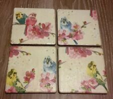 NEW budgerigars on branches birds Set of 4 Ceramic Tile Coasters Xmas gift