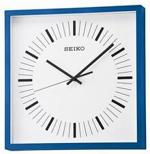 Seiko QXA588L Silent sweep Modern look square wall clock in blue