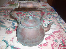 Antique Tea Kettle Pot wood handle with vintage Pyrex Warmer Stand